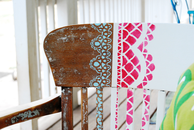 back of stenciled chair