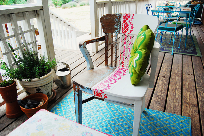 stenciled chair with cushion