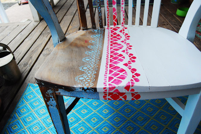 stenciled chair seat