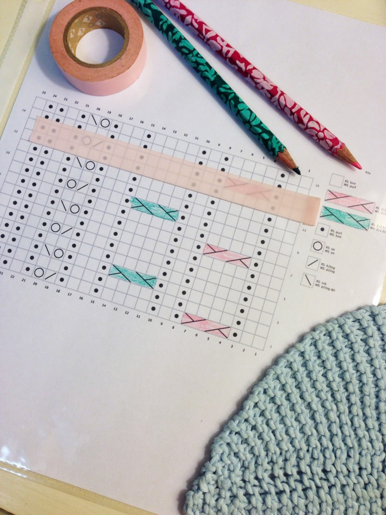 knitting chart in action